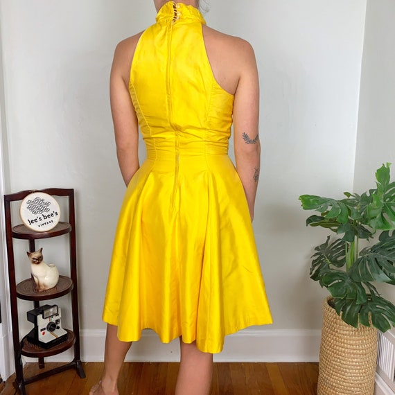 Vintage Late 70s Early 80s Bright Yellow Halter F… - image 2