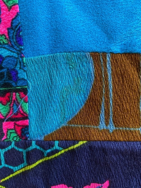 Vintage 1960s/70s Neon Multicolored Patchwork Gro… - image 9