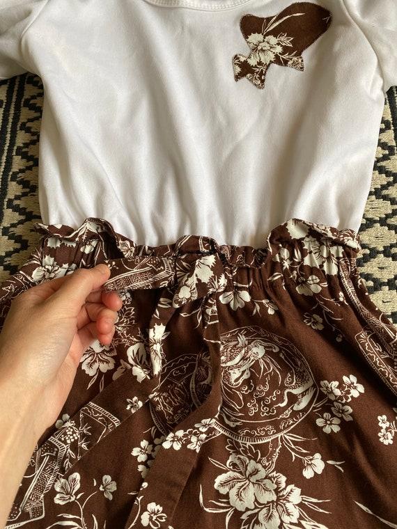 Vintage 1960s/70s Brown Floral Cotton & White Pol… - image 9