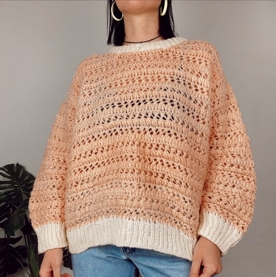 Vintage Powder Pink Chunky Hand-knit Sweater