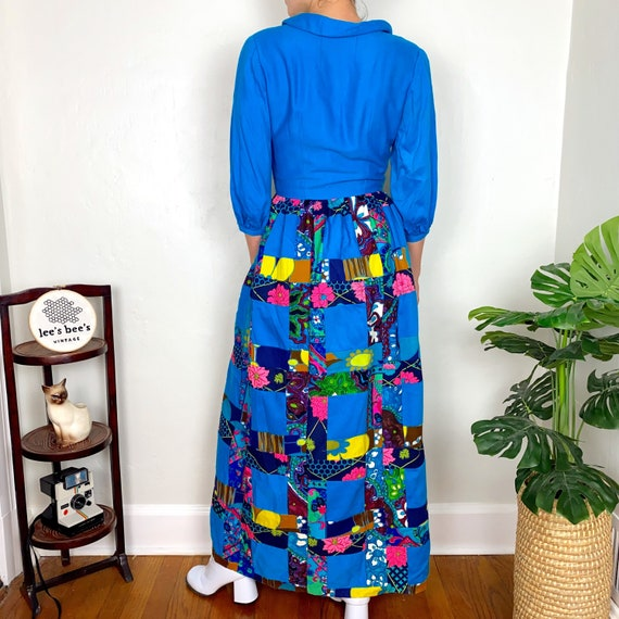 Vintage 1960s/70s Neon Multicolored Patchwork Gro… - image 6