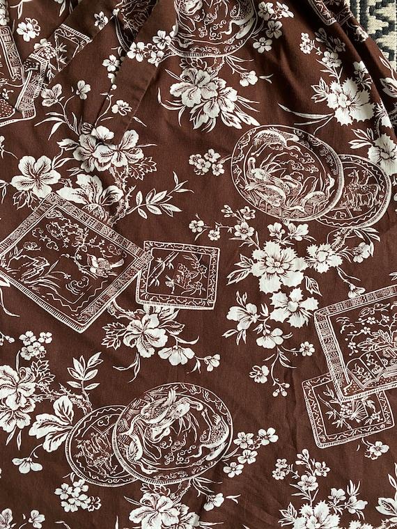 Vintage 1960s/70s Brown Floral Cotton & White Pol… - image 7