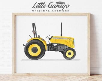 Tractor Wall Art Print Farm Vehicle Art Nursery Decor Truck Car Boys Bedroom Prints Poster Childrens Wall Art Printable Illustration Artwork