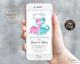 Dinosaur Gender Reveal Evite Pink and Green Gender Reveal Corjl Invitation Template Girl or Boy Electronic Invitation Smartphone Invite