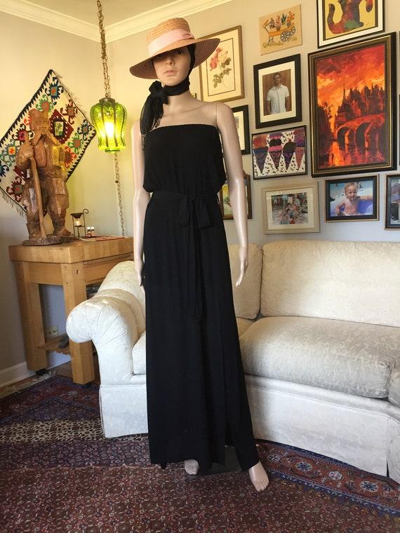 Ankle Length Black Gauze Strapless Dress Women's S