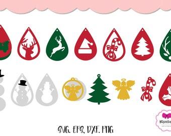 Christmas  Earring SVG | Snowman Earring SVG |  Christmas Ornament Earring |Glowforge Laser Cutter | Cricut Earring | Silhouette Earring
