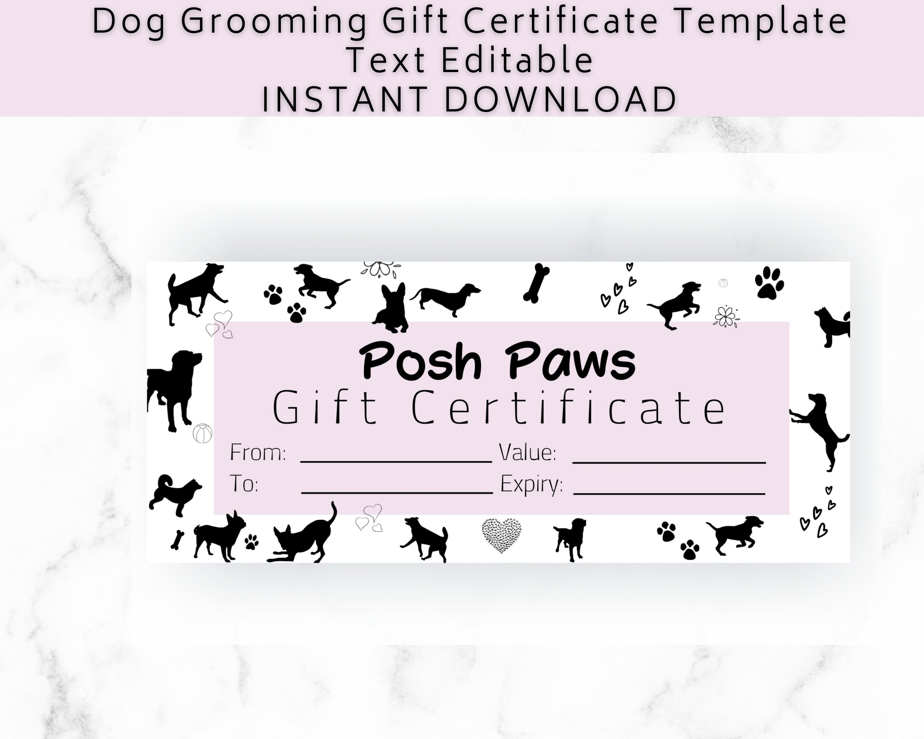 Gift Certificate Template Dog Grooming. DIY Gift Voucher for small business  . Add your logo. Editable digital download. With Dog Grooming Record Card Template