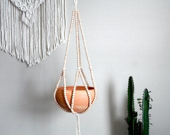 Beaded Plant Hanger, Beaded Plant Holder, Handmade Beaded Planter, Macrame Plant Hanger, Simple Hanging Planter