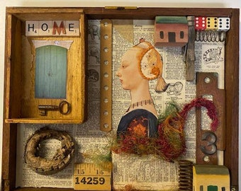 Collage Assemblage Art Copy Of Painting Quilt Art Victorian Girl Found Object Art Folk Art