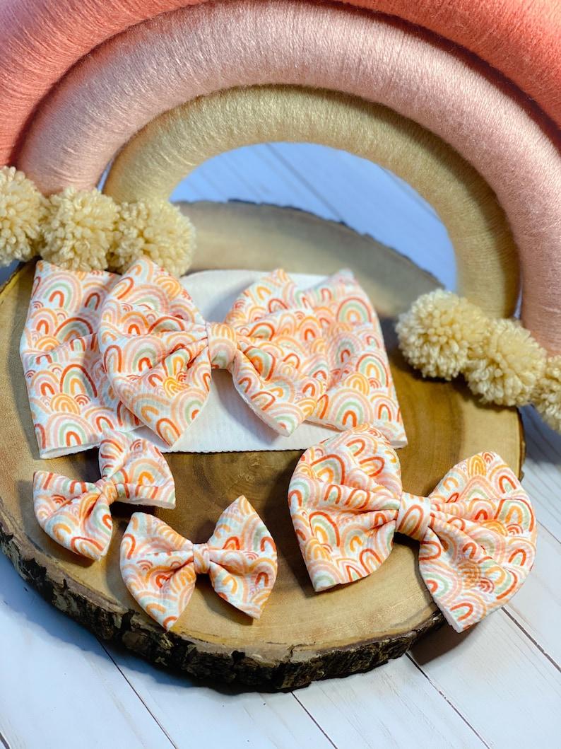 RAINBOW BOW Liverpoolbullet fabric bow Fall headwrap Soft baby bow Messy bun bow Newborn head wrap Sister set bows