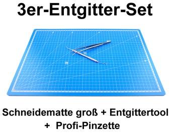 2 erade set start set de-grid needle+cutting mat large A3 blue flex foil