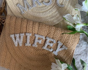 Ladies Straw Embellished Personalised clutch handbag. Wedding, hen party, Pearl, Gem, Holiday Wristlet, Bride, Mrs,