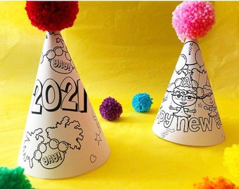 Printable Party Hats New Years Eve Black Characters DIY Printable Party Hat Crafternoon Kids Craft Representation Matters INSTANT DOWNLOAD