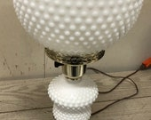 Vintage Fenton Hobnail White Milk Glass Globe Table Lamp 21 quot Tested is in perfect MINT