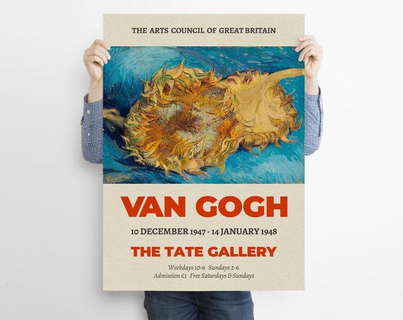 Museum Print 1887 Wall Art Vincent Van Gogh Still Life Sunflowers Van Gogh Exhibition Poster Home Decor