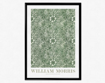 William Morris Exhibition Poster, Art Nouveau, William Morris Print, Green Marigold Pattern, Floral Pattern, Vintage Pattern, Home Decor