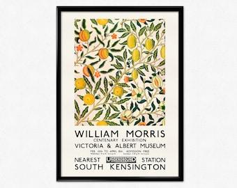 William Morris Exhibition Poster, Morris Fruit Pattern Print, Arts and Craft Movement, Art Nouveau, Citrus, Wallpaper, Home Decor, Wall Art