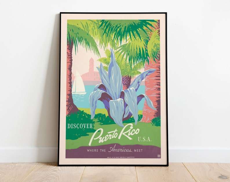 Puerto Rico Print United States HIGHT QUALITY PRINT Puerto Rico Vintage Travel Poster Home Decor Vintage Travel Advertisement Poster
