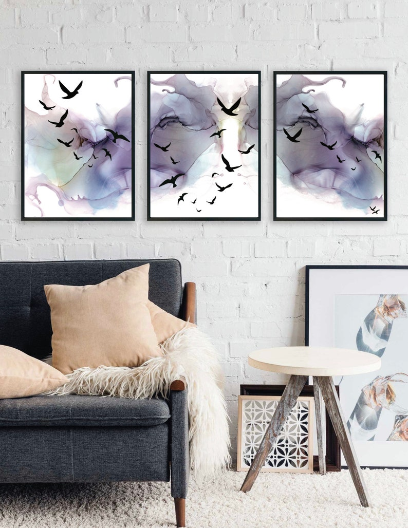 Abstract Alcohol Ink Artwork Abstract Bird Silhouettes  Set image 0