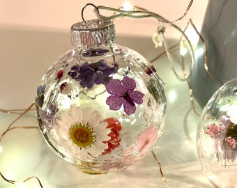 Pressed Flower Bauble Christmas Ornament Ball   Antique Glass Christmas Decor   Beautiful Holiday Decorations   Wedding Decor