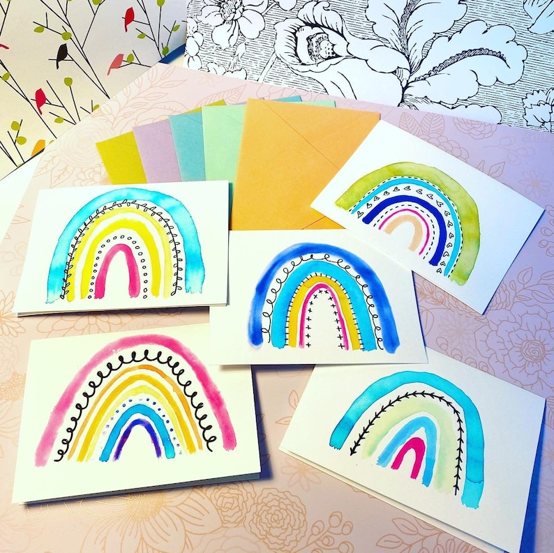 Assorted Hand-painted Watercolor Rainbow Greeting Cards  image 0