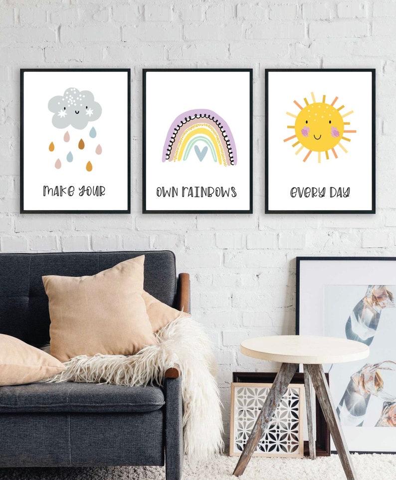 Rainbow Nursery Art Prints  Set of Three  Printable Wall Art image 0