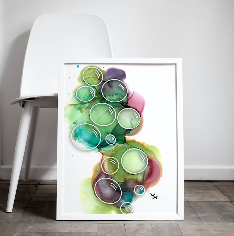 Abstract Alcohol Ink Artwork Bubbles  Colorful Digital Art  image 0