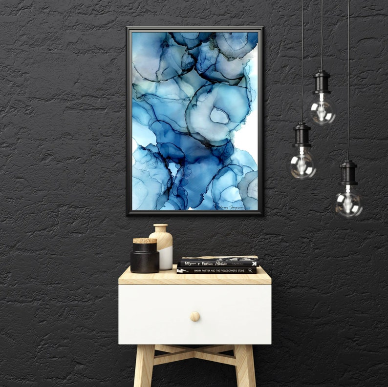 Vibrant Abstract Alcohol Ink Print  Colorful Printable Wall image 0