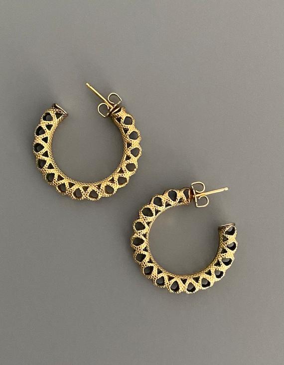 Vintage Wells 12k GF Lacey Hoop Earrings