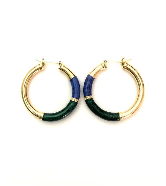 Vintage 14K Gold Enamel Hoop Earrings - image 2