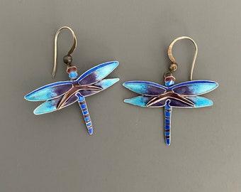 Vintage Sterling Enamel Dragonfly Earrings