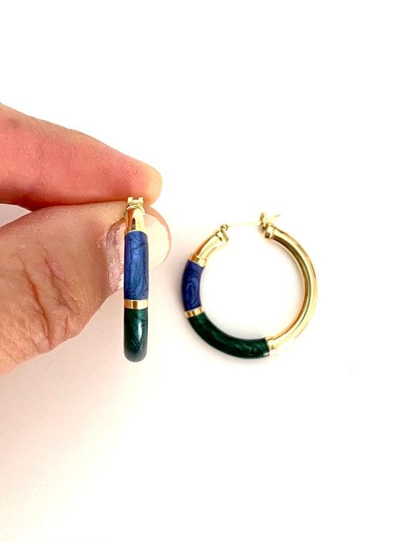Vintage 14K Gold Enamel Hoop Earrings - image 4