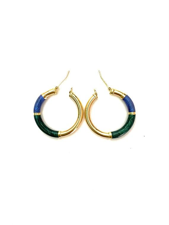 Vintage 14K Gold Enamel Hoop Earrings - image 3