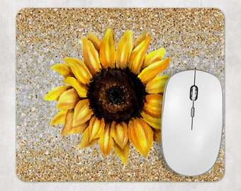 Sunflower Monogrammed Mouse Pad and Coaster Desk Set for Woman Funky Sunflower Mouse Pad and Wrist Rest Personalized Gift