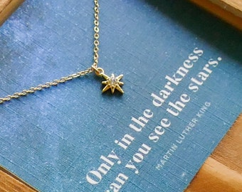 Dainty Star Charm Necklace | Inspirational Gift For Her | Teeny Tiny Star Jewelry, Only in the Darkness Can You See the Stars