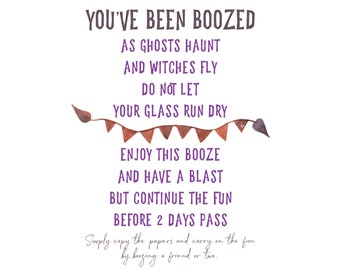 BOOZED Printable You've We've Been Boozed DIY - Booze - Boozing - Youve been boozed printables Halloween Boo Booing
