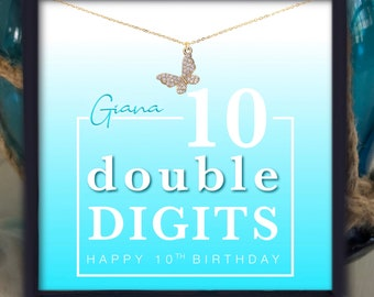 10th Birthday Girl | Personalized 10th Birthday Gift For Her | Double Digits Gift For Girls | Butterfly Necklace Birthday Gift