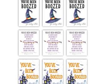 Mini You've Been BOOzed Printable Small Boozed Signs with Cut Lines We've Been Boozed DIY - Booze - Boozing - Youve been boozed printables
