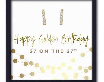 Age 27 | GOLDEN BIRTHDAY | 27 on the 27th | 27th Birthday for Her | Twenty Seventh Birthday | Gold Bar Stud Earrings