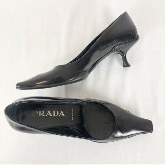 Vintage 1990's PRADA Black Kitten Heels 37