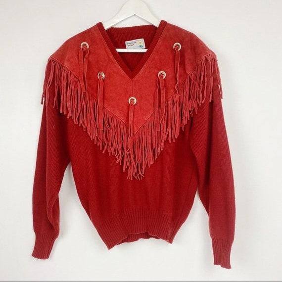 Vintage Pioneer Wear Fringe Suede Western Sweater
