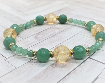 Abundance Bracelet with Citrine & Aventurine Manifest Abundance and Prosperity