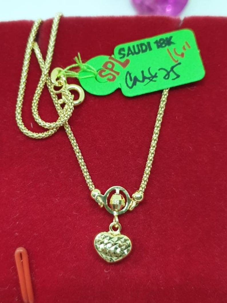 18k Pure Gold Chain Necklace W Heart Pendant Unisex 18 Etsy