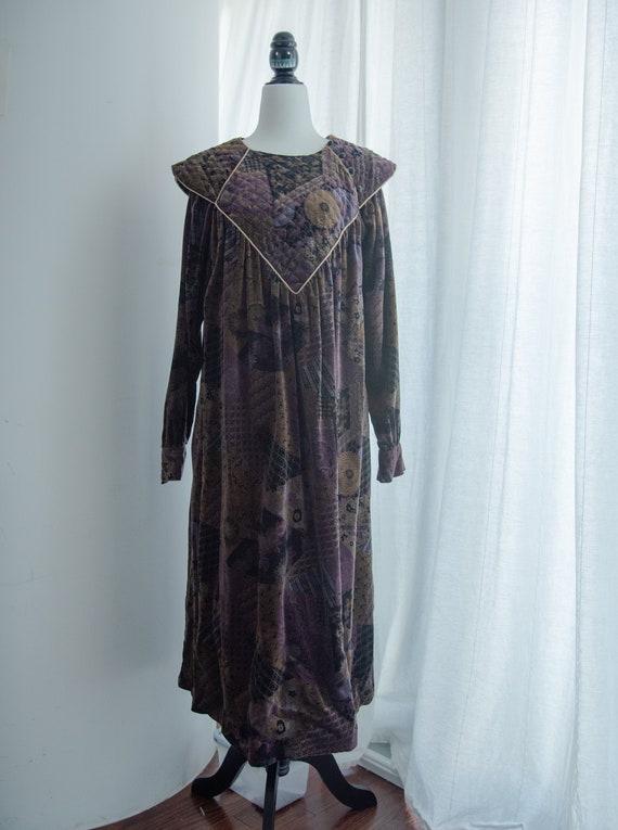 60s velvet quilted dress