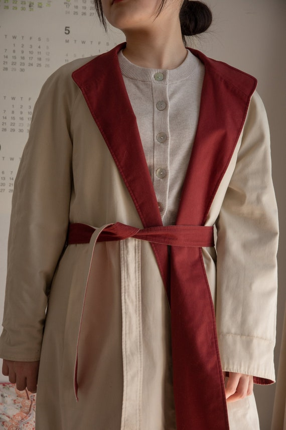 Reversable trench coat in brick red& beige/ Vintag
