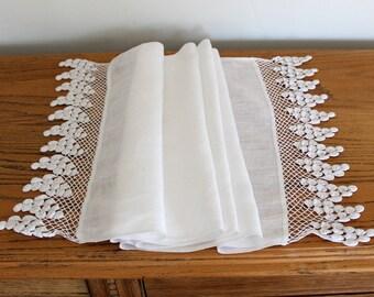 Antique White Linen Table Runner Hand Crochet Edge Sheer Linen Dresser Scarf