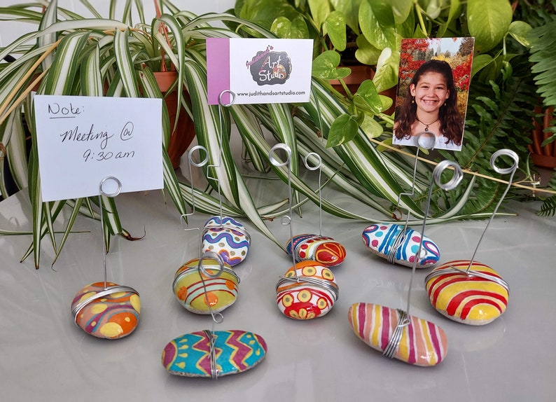 Painting rocks with Photo or Card Holder