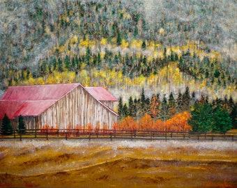 Foggy Barn in Autumn