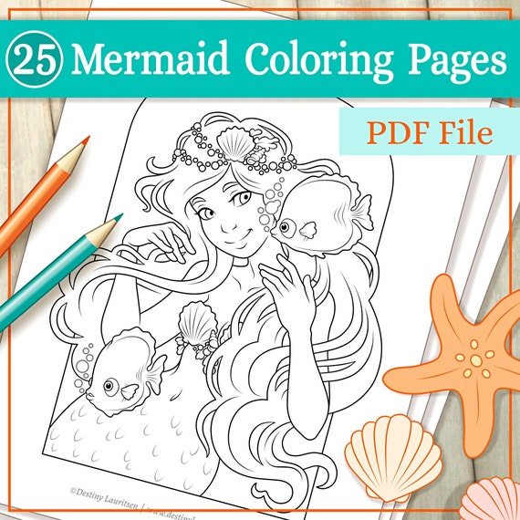 Mermaid Coloring Pages  25 Beautiful Illustrations Suitable