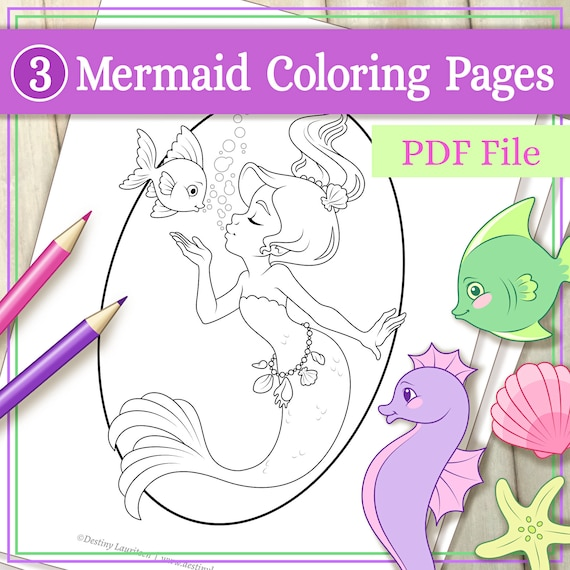Mermaid Coloring Pages  3 Adorable Illustrations Suitable for
